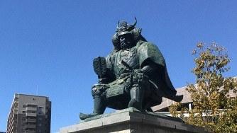 武田信玄公像=山梨県甲府市で2017年3月3日、井川諒太郎撮影
