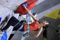 リード女子決勝を制した野口啓代=千葉県印西市で2019年3月3日、梅村直承撮影