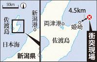 衝突現場、佐渡島