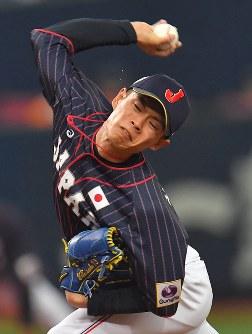 【日本ーメキシコ】三回から登板した日本の2番手・山岡=京セラドーム大阪で2019年3月9日、徳野仁子撮影