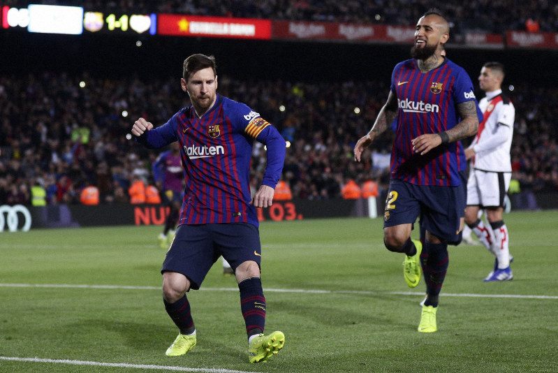 05c7a0149 FC Barcelona s Lionel Messi celebrates after scoring his side s second goal  from a penalty spot during the Spanish La Liga soccer match between FC  Barcelona ...