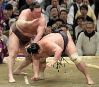 白鵬(左)が突き落としで妙義龍を降す=エディオンアリーナ大阪で2019年3月14日、平川義之撮影