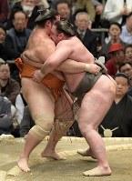 栃ノ心(右)が寄り切りで魁聖を降す=エディオンアリーナ大阪で2019年3月14日、平川義之撮影