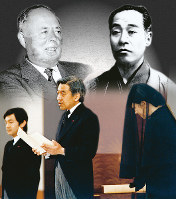 即位後の「朝見の儀」でお言葉を述べられる天皇陛下(中央)=1989年1月9日。「帝室論」を著した福沢諭吉(右上)の系譜を引く小泉信三(左上)から教育を受けた