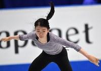 世界選手権開幕を控え練習する紀平梨花=さいたまスーパーアリーナで2019年3月19日、宮間俊樹撮影