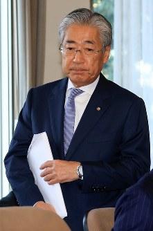 険しい表情でJOC理事会に臨む竹田恒和会長=東京都渋谷区で2019年3月19日午後2時56分、梅村直承撮影