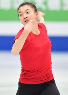 世界選手権開幕を控え練習する坂本花織=さいたまスーパーアリーナで2019年3月19日、宮間俊樹撮影