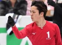 世界選手権開幕を控え練習する宇野昌磨=さいたまスーパーアリーナで2019年3月19日、宮間俊樹撮影