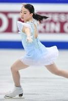 女子SPで演技する紀平梨花=さいたまスーパーアリーナで2019年3月20日、宮間俊樹撮影