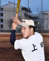 高松商の上田蓮選手=高松市松島町1の同校で、潟見雄大撮影