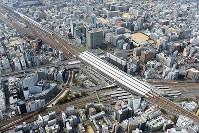公示地価で上昇率が大きかった新大阪駅周辺=大阪市淀川区で、本社ヘリから小松雄介撮影