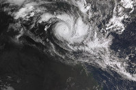 In a satellite image acquired from the Australian Bureau of Meteorology, Cyclone Trevor moves over the Northern Territory captured at 0810am AEDT, on 19 March 2019. (Bureau of Meteorology/AAP Image via AP)