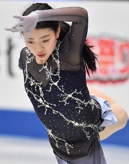 女子フリーに向けての練習する紀平梨花=さいたまスーパーアリーナで2019年3月22日、宮間俊樹撮影