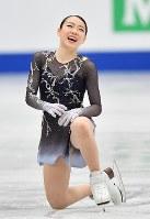女子フリーの演技を終えて笑みを浮かべる紀平梨花=さいたまスーパーアリーナで2019年3月22日、宮間俊樹撮影