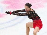 女子シングルで優勝したザギトワのフリーの演技=さいたまスーパーアリーナで2019年3月22日、佐々木順一撮影