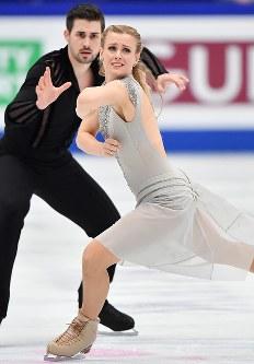 アイスダンスで3位に入ったマディソン・ハベル、ザッカリー・ドノヒュー組(米国)のフリー演技=さいたまスーパーアリーナで2019年3月23日、宮間俊樹撮影