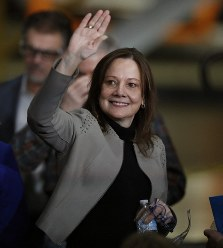 General Motors Chairman and CEO Mary Barra waves before announcing the company investment of $300 million in its Orion Township, Mich., assembly plant to produce a new Chevrolet electric vehicle, on March 22, 2019, in Orion Township, Mich. (AP Photo/Carlos Osorio)