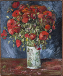 This undated photo provided by the Wadsworth Atheneum Museum of Art shows a painting of poppies, oil on canvas. (Wadsworth Atheneum Museum of Art via AP)