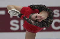 Russia's Alina Zagitova performs in the ladies free skating during the ISU World Figure Skating Championships at Saitama Super Arena in Saitama, north of Tokyo, March 22, 2019. (AP Photo/Andy Wong)