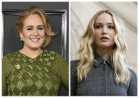 This combination photo shows singer Adele at the 59th annual Grammy Awards in Los Angeles on Feb. 12, 2017, left, and actress Jennifer Lawrence at the Dior ready to wear Fall-Winter 2019-2020 collection in Paris on Feb. 26, 2019. (AP Photo)