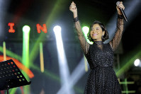 In this Dec. 31, 2018 photo, Egyptian singer Sherine Abdel-Wahab performs during New Years' Eve, in Cairo, Egypt. (AP Photo/Mahmoud Abdel Nasser)