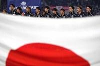 【日本―ボリビア】試合に臨む日本の選手たち=ノエビアスタジアム神戸で2019年3月26日、久保玲撮影