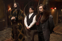 This image released by FX shows Kayvan Novak, from left, Harvey Guillen and Matt Berry in a scene from
