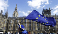 An anti Brexit campaigner waves a European Union flag outside the Parliament in London, on March 25, 2019. (AP Photo/Kirsty Wigglesworth)