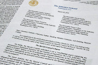 This March 24, 2019 photo shows the letter from Attorney General William Barr to Congress on the conclusions reached by special counsel Robert Mueller in the Russia probe. (AP Photo/Jon Elswick)