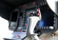 毎日新聞社が共同通信社と東京・羽田格納庫に新たに導入した取材用ヘリコプター「はばたき」の操縦桿=東京都大田区で2019年3月21日、尾籠章裕撮影