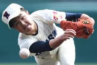 【習志野-星稜】習志野の先発・岩沢=阪神甲子園球場で2019年3月28日、山崎一輝撮影