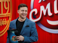 ウクライナ大統領選候補のウラジーミル・ゼレンスキー氏=2月22日、ロイター