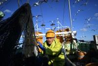 底引き網漁船で働くインドネシアからの技能実習生、カシワンさん=宮城県沖で2019年3月13日、久保玲撮影