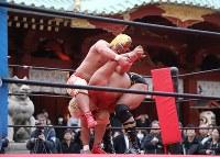 神田明神の境内にリングを設置して行われた奉納プロレス。中央上は攻める神田カレーマスク=東京都千代田区で2019年3月30日、山本晋撮影