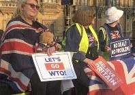 「世界貿易機関(WTO)のルールに移行しよう」。離脱協定が否決された直後、英議会前に集まった離脱派の市民が「合意なき離脱」を訴えた=ロンドン市内で29日午後、三沢耕平撮影