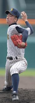 【明石商-大分】明石商の先発・宮口=阪神甲子園球場で2019年3月30日、平川義之撮影