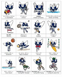 東京五輪のマスコット「ミライトワ」の競技図柄=Tokyo 2020提供