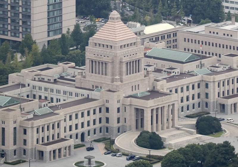 国会議事堂=東京都千代田区で、本社ヘリから佐々木順一撮影