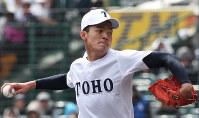 東邦の石川投手=阪神甲子園球場で2019年4月2日、玉城達郎撮影