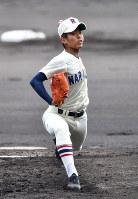 【習志野-東邦】習志野の先発・山内=阪神甲子園球場で2019年4月3日、川平愛撮影