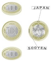 The new 500 yen coin. (Image courtesy of the Ministry of Finance)
