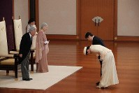 Emperor Akihito and Empress Michiko receive congratulatory visits from Crown Prince Naruhito and Crown Princess Masako during an event to celebrate the Imperial Couple's 60th wedding anniversary at the Imperial Palace in Tokyo's Chiyoda Ward on April 10, 2019. (Pool photo)