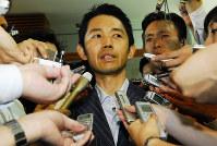 2007年8月、事務所費問題で赤城徳彦農相が辞任=藤井太郎撮影