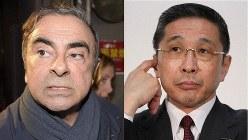 日産のカルロス・ゴーン前会長(左)と西川広人社長