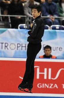【フィギュア世界国別対抗戦】男子フリーで演技するネーサン・チェン=マリンメッセ福岡で2019年4月12日、上入来尚撮影