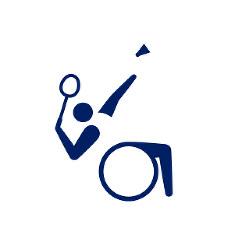 東京2020パラリンピックスポーツピクトグラム「バドミントン」=東京2020組織委員会提供