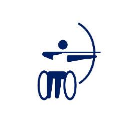 東京2020パラリンピックスポーツピクトグラム「アーチェリー」=東京2020組織委員会提供