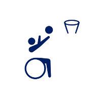 東京2020パラリンピックスポーツピクトグラム「車いすバスケットボール」=東京2020組織委員会提供