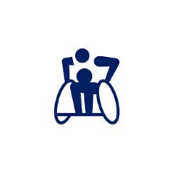 東京2020パラリンピックスポーツピクトグラム「車いすラグビー」=東京2020組織委員会提供