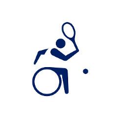 東京2020パラリンピックスポーツピクトグラム「車いすテニス」=東京2020組織委員会提供
